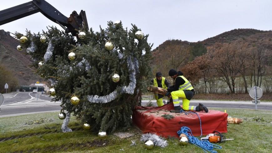 Alpes de Haute Provence : le sapin de Noël de Digne tronçonné