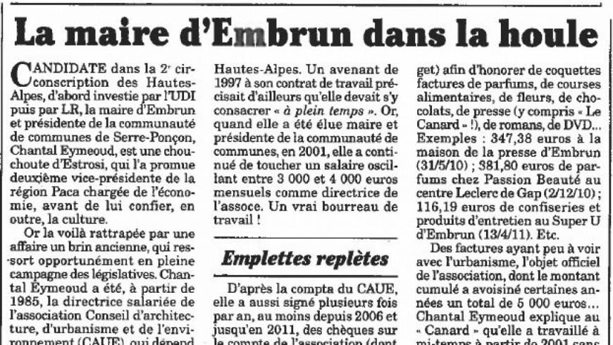 Hautes-Alpes : le parquet s'interroge sur l'affaire du Canard Enchainé et le CAUE a confié le dossier a un avocat.